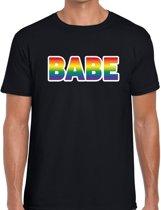 Babe gaypride t-shirt -  regenboog t-shirt zwart voor heren - Gay pride L