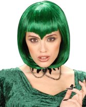 Groene korte vampier pruik - Verkleedpruik