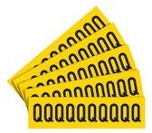 Sticker letters geel/zwart teksthoogte: 40 mm letter Q