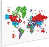 Kleurrijke wereldkaart op een witte achtergrond Plexiglas 90x60 cm - Foto print op Glas (Plexiglas wanddecoratie)
