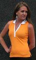 Oranje mouwloze dames polo katoen M