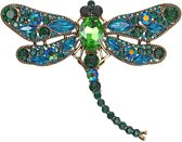 Fako Bijoux® - Broche - Libelle - XXL - 94x67mm - Groen/Blauw