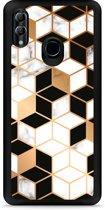 Honor 10 Lite Hardcase hoesje Black-white-gold Marble