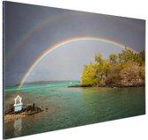 Regenbogen over meer Aluminium 30x20 cm - klein - Foto print op Aluminium (metaal wanddecoratie)