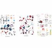 Set van 3 Stickervellen World | 144 Stickers voor Scrapbooking