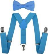Fako Fashion® - Kinder Bretels Met Vlinderstrik - Effen - 65cm - Lichtblauw