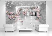 Snow Flowers And Silver Spheres Photo Wallcovering