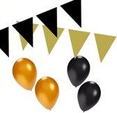 Zwart / goud versiering pakket - slingers en ballonnen