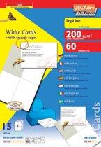 6x Decadry visitekaarten TopLine 60 kaartjes (4 kaartjes 148,5x105mm per A4), rechte hoeken