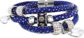 Silventi 980101579 Bedelarmband - gevlochten leer en staal elementen - beads en druppel bedels - zirkonia - lengte 20 cm - donkerblauw / zilverkleurig