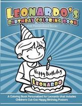 Leonardo's Birthday Coloring Book Kids Personalized Books