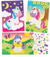 Mozaïeksets met eenhoorn voor kinderen om te maken en laten zien - Creatieve knutselset voor kinderen (4 stuks per verpakking)