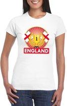Wit Engeland supporter kampioen shirt dames XS