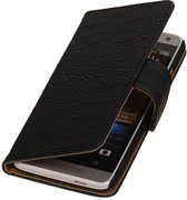 Wicked Narwal   Croco bookstyle / book case/ wallet case Hoes voor HTC One mini 2  Zwart