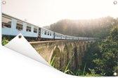 Een trein over een brug Tuinposter 90x60 cm - Tuindoek / Buitencanvas / Schilderijen voor buiten (tuin decoratie)