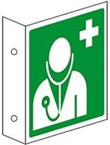 Evacuatiepictogram Dokter, haaks bord, ISO 7010, kunststof, 200 x 200 mm