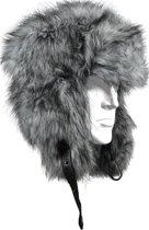 Luxe Bontmuts Grey Wolf - Unisex Imitatie Bont Wintermuts Sneeuwmuts met Oorflappen - Imitatiebont Namaakbont Kunstbont Siberische Piloten Muts