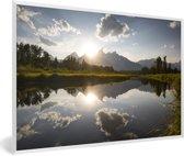 Foto in lijst - Ondergaande zon achter het Tetongebergte in Wyoming fotolijst wit 60x40 cm - Poster in lijst (Wanddecoratie woonkamer / slaapkamer)