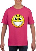 Smiley/ emoticon t-shirt ondeugend roze kinderen L (146-152)