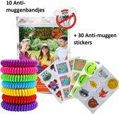 10 anti muggen bandjes + gratis 12 anti muggen patches - muggenbandjes - bescherming tegen muggen - DEET vrij - natuurlijke bescherming tegen muggen - muggen verjagen - anti mug