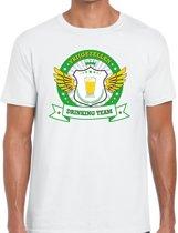 Wit vrijgezellenfeest drinking team t-shirt heren met groen en geel -  Vrijgezellen team kleding mannen M