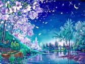 Diamond Painting Pakket Gekleurde Nachtelijke scene - Volledig - FULL - Diamond Paintings - 30x40 cm - SEOS Shop ®