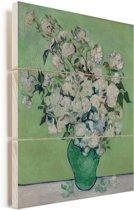Rozen - Schilderij van Vincent van Gogh Vurenhout met planken 60x80 cm - Foto print op Hout (Wanddecoratie)