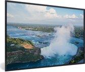 Foto in lijst - Luchtfoto van de Niagarawatervallen fotolijst zwart 60x40 cm - Poster in lijst (Wanddecoratie woonkamer / slaapkamer)