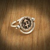 Biggdesign Sagittarius zilveren ring voor dames | Bronzen detail | Zirkonia steen | Horoscoop sieraden op maat | Verjaardagscadeau | Dubbelzijdige ring | Speciaal ontwerp | 925 sterling zilver