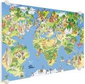 Wereldkaart onze dieren en gebouwen Plexiglas 60x40 cm