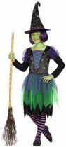 Halloween - Heksen outfit groen/zwart voor meisjes 116 (5-6 jaar)