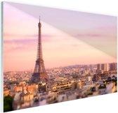 Zonsondergang over Parijs Glas 60x40 cm - Foto print op Glas (Plexiglas wanddecoratie)