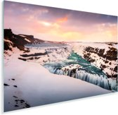 Ijsvorming bij de Gullfoss waterval in IJsland Plexiglas 90x60 cm - Foto print op Glas (Plexiglas wanddecoratie)