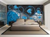 Fotobehang Papier Art | Blauw | 254x184cm