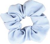 Scrunchie kraagjeskopen.nl - haarwokkel haarelastiek exclusieve luxe lichtblauw ruitjes - 1 stuk - scrunchies - extra groot en vol