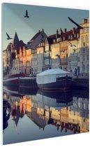 Nyhavn in de ochtend Glas 80x120 cm - Foto print op Glas (Plexiglas wanddecoratie)