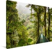 Groene brug tussen de bomen in het Bosque Nuboso Monteverde Canvas 180x120 cm - Foto print op Canvas schilderij (Wanddecoratie woonkamer / slaapkamer) XXL / Groot formaat!