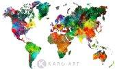 Schilderij - Wereldkaart in kleuren, multikleur