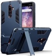 Qubits - Double Armor Layer hoes met stand - Nokia 7 Plus - blauw
