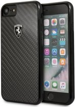 Ferrari Backcover hoesje Zwart - Carbon - Leer - iPhone 8  - Special Edition