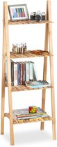 relaxdays ladderrek notenhout - badkamerrek - trappenrek - keukenrek hout - 131 x 46 x 34
