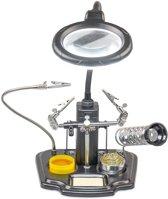Helpende Derde Hand Met Vergrootglas & LED Verlichting - 3De Helping Hand Multitool - Soldeerhulp Met Soldeerhars & Soldeerbout Houder