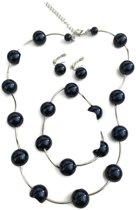 Petra's Sieradenwereld - Parelset blauw (ketting, armband en oorbellen)