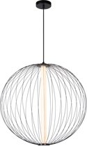 Lucide CARBONY Hanglamp - Ø 60 cm - LED Dimb. - 1x10W 2700K - Zwart