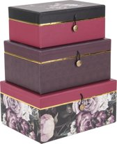 pt, (Present Time) Flowers - Opbergbox set van 3 - Papier - 19x13x7cm + 21x15x9cm + 23x17x11cm - Meerkleurig