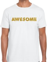 Awesome goud glitter tekst t-shirt wit voor heren M