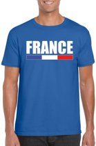 Blauw Frankrijk supporter t-shirt voor heren - Franse vlag shirts L