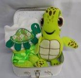 Koffertje badcape met knuffel schildpad