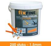 Tegel Levelling Systeem - Nivelleersysteem - Starter Set - 250 stuks – 1,5mm - PRO
