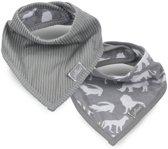 Jollein Safari Slab bandana stone grey (2pack)